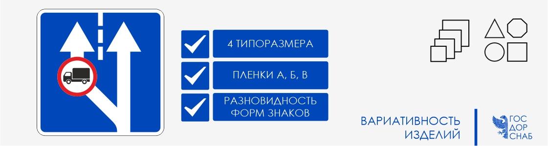 вариативность изделий дорожные знаки