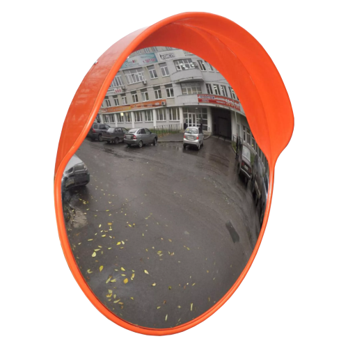 Обзорное универсальное сферическое зеркало дорожное с козырьком Ø-600