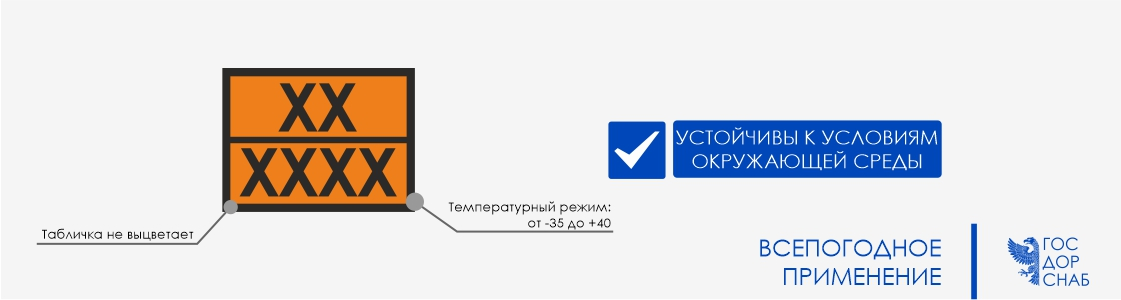 """всепогодное применение таблички """"Опасный груз"""""""
