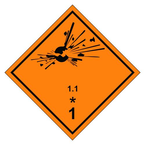 Знак опасности. Класс 1.1, 1.2, 1.3. Взрывчатое вещество