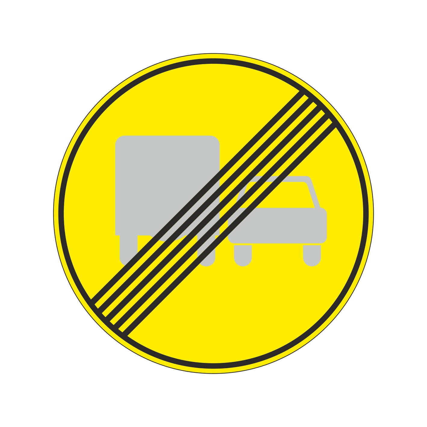 3.23 (временный) Конец запрещения обгона грузовым автомобилям