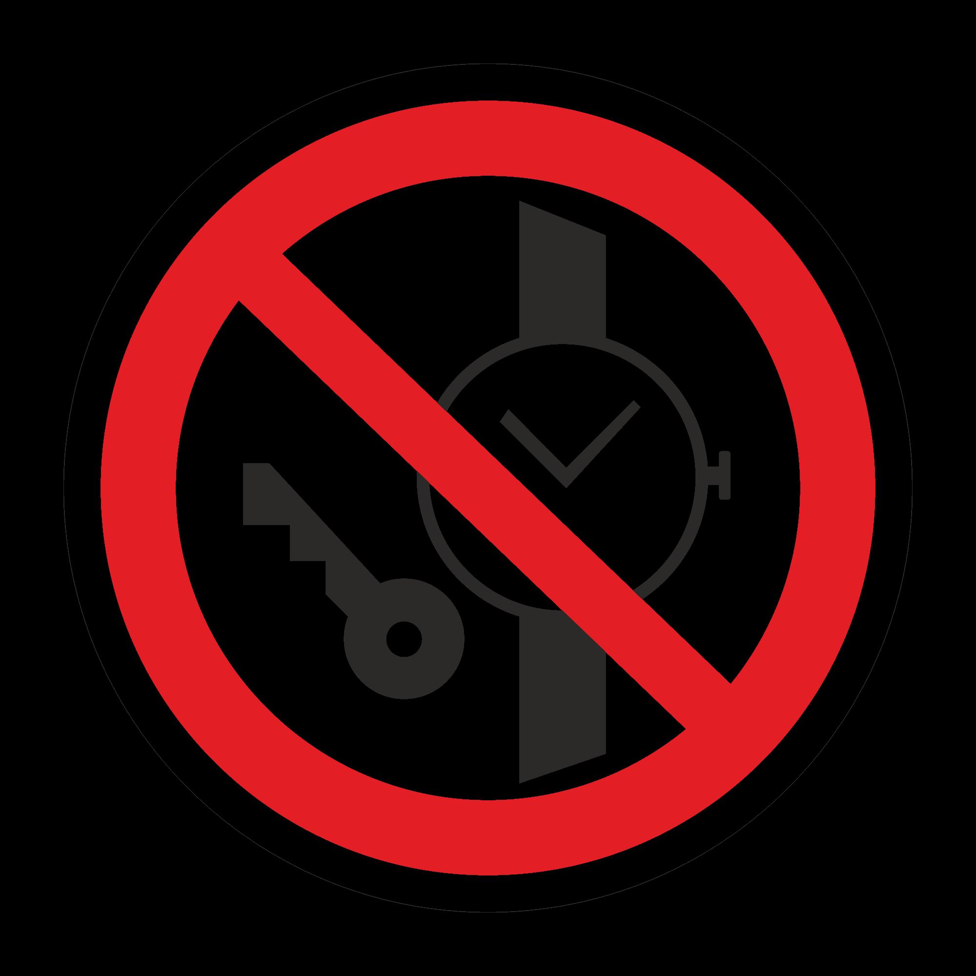 Запрещается иметь при (на) себе металлические предметы