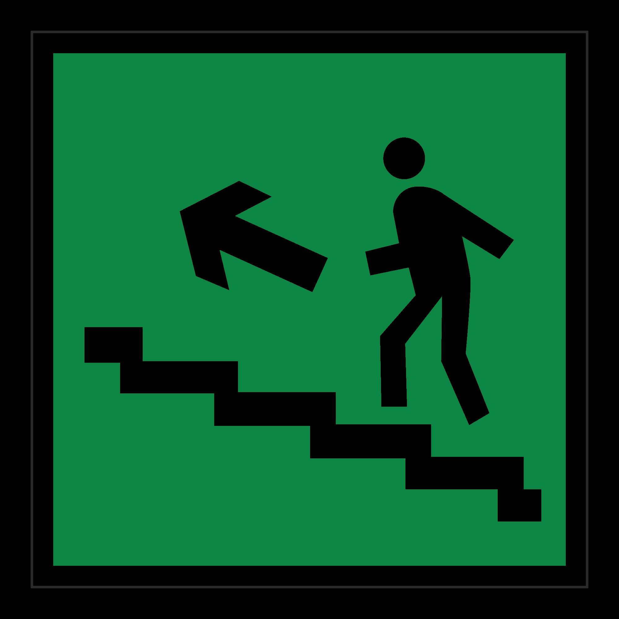 Е16 Направление к эвакуационному выходу по лестнице вверх (налево)