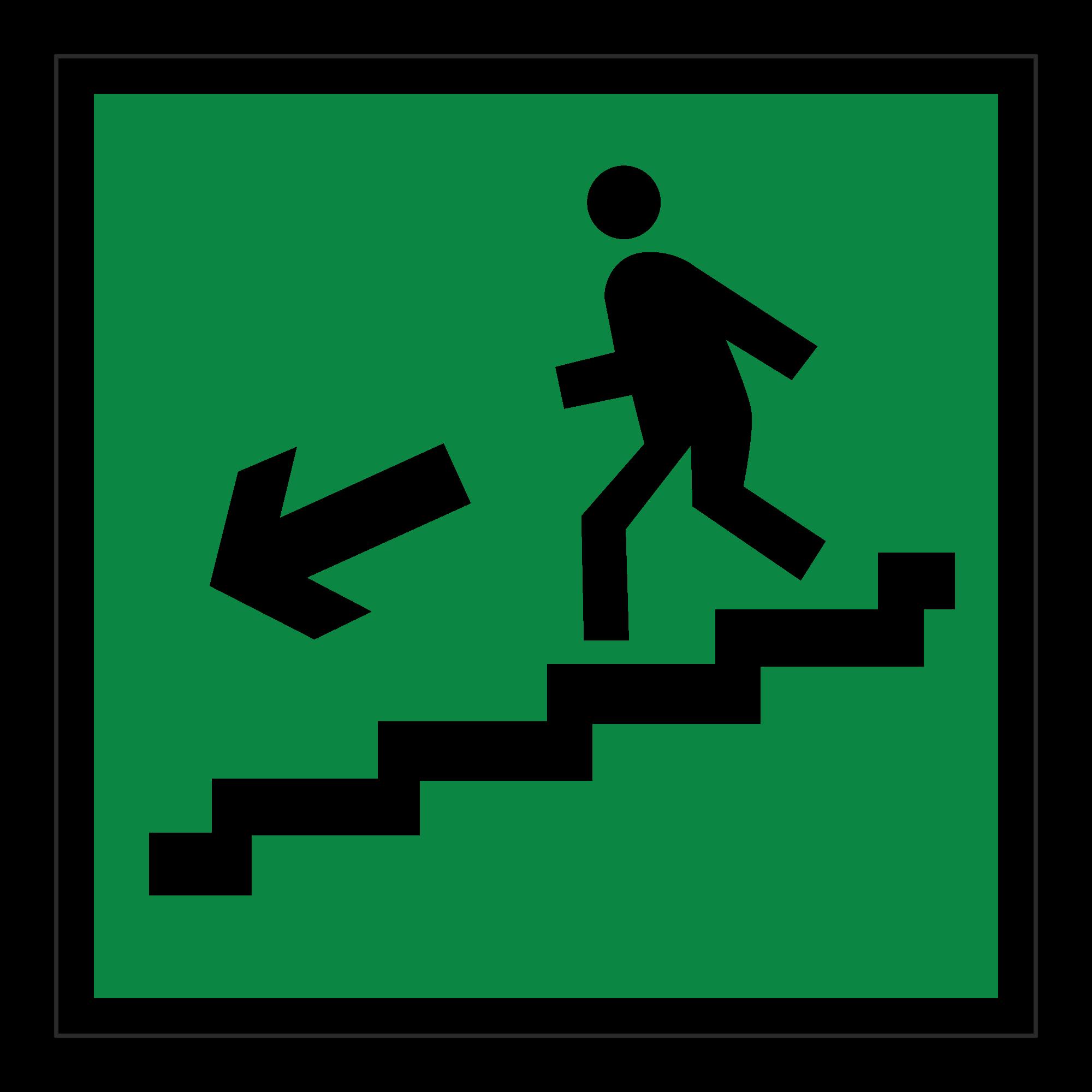 Е14 Направление к эвакуационному выходу по лестнице вниз (налево)