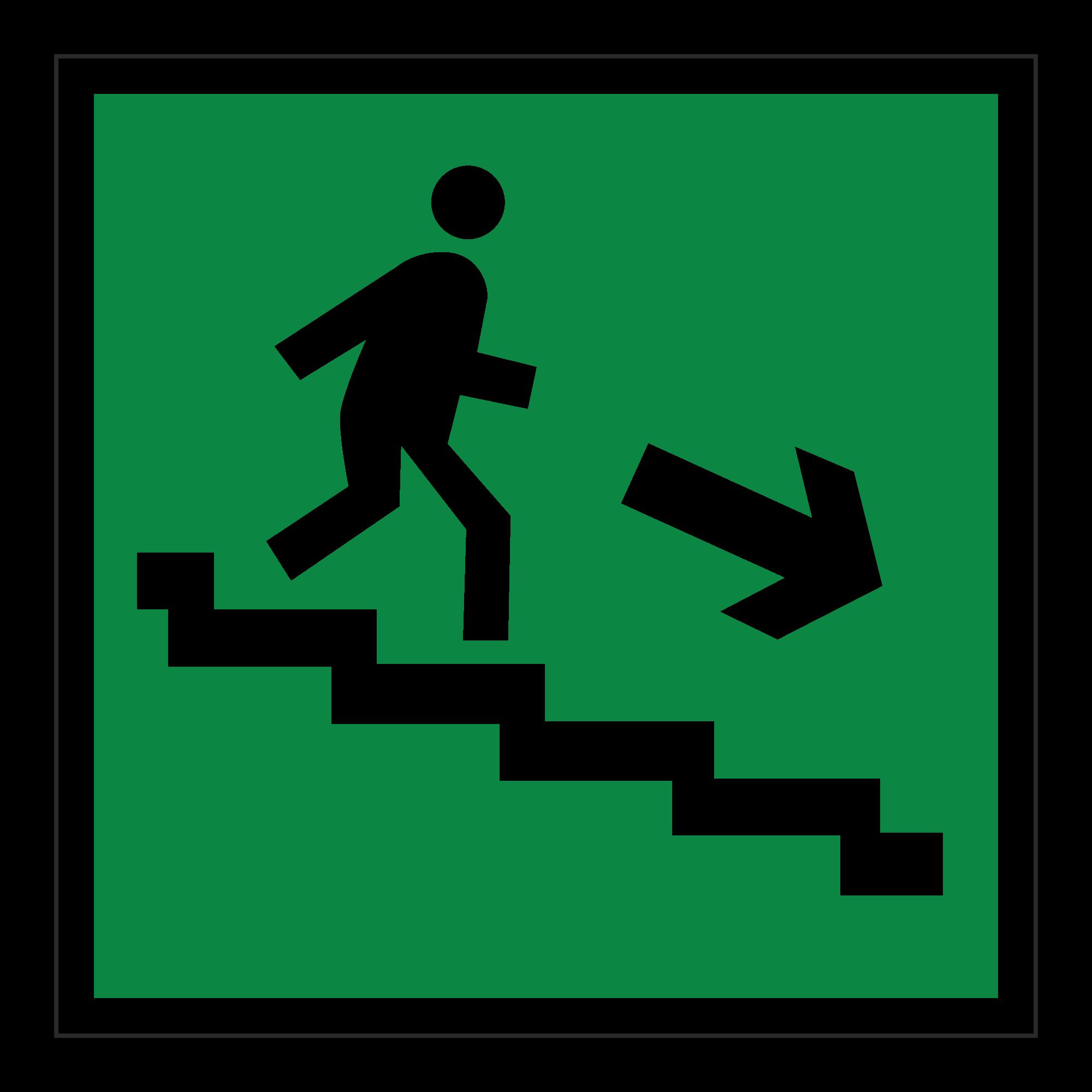 Е13 Направление к эвакуационному выходу по лестнице вниз (направо)