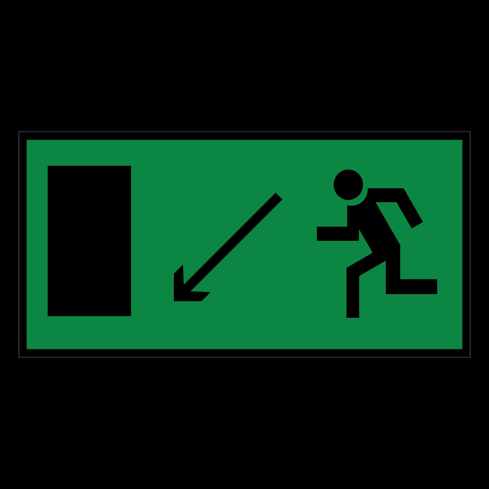 Е08 Направление к эвакуационному выходу налево вниз