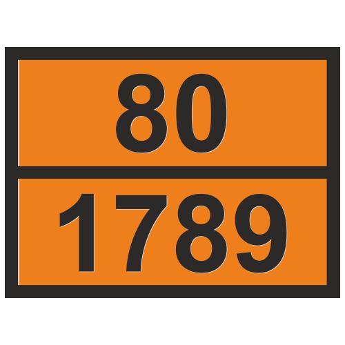 Табличка опасный груз 80-1789 Соляная кислота