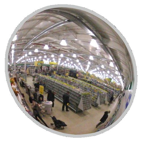 Обзорное универсальное сферическое зеркало круглое Ø-800-1