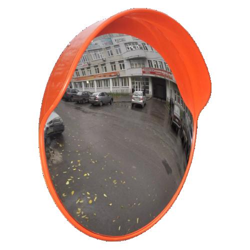 Обзорное универсальное сферическое зеркало дорожное с козырьком Ø-800
