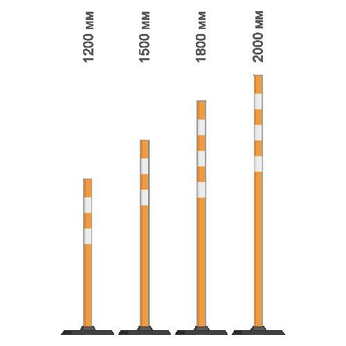 Веха сигнальная пластиковая с резиновой подставкой оранжевая  [1,8 м]
