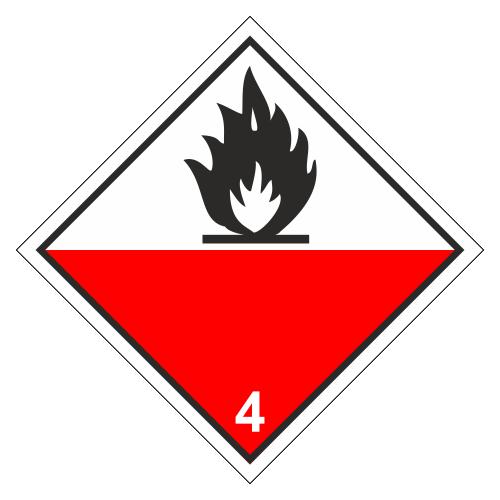Знак опасности. Класс 4.2. Вещества, способные к самовозгоранию