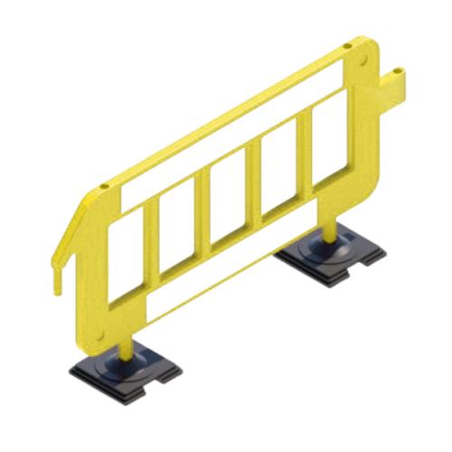 Сигнальное ограждение штакетного типа P2000 на резиновых опорах [желтое]